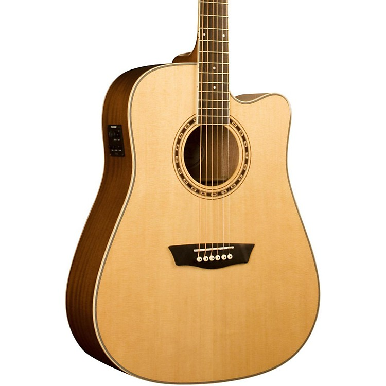 Washburn WD 10SCE Cutaway Acoustic-Electric Guitar Natural 886830652974