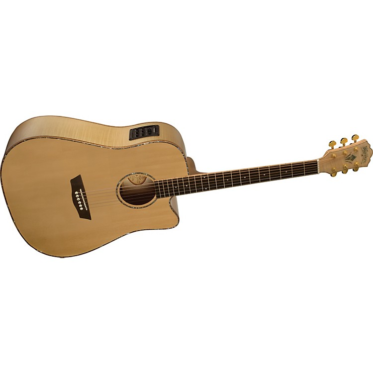 WashburnWD45SCE Solid Sitka Spruce Top Acoustic Cutaway Electric Dreadnought Flame Maple Guitar with Fishman Preamp And Tuner