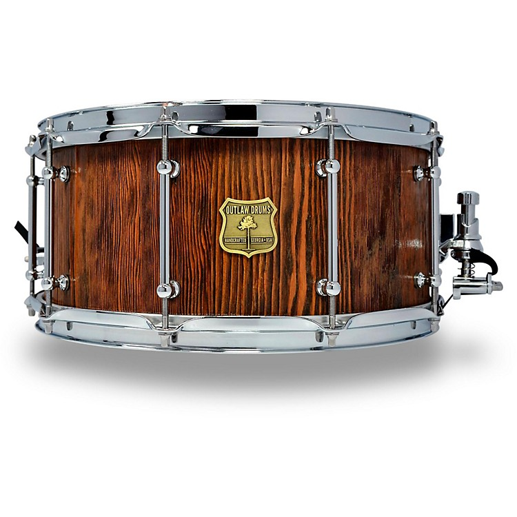 OUTLAW DRUMSWeathered Douglas Fir Stave Snare Drum with Chrome Hardware14 x 6.5 in.Tobacco Glaze