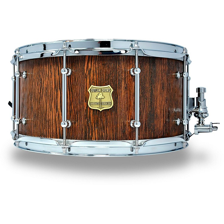 OUTLAW DRUMS Weathered Douglas Fir Stave Snare Drum with Chrome Hardware 14 x 7 in. Tobacco Glaze