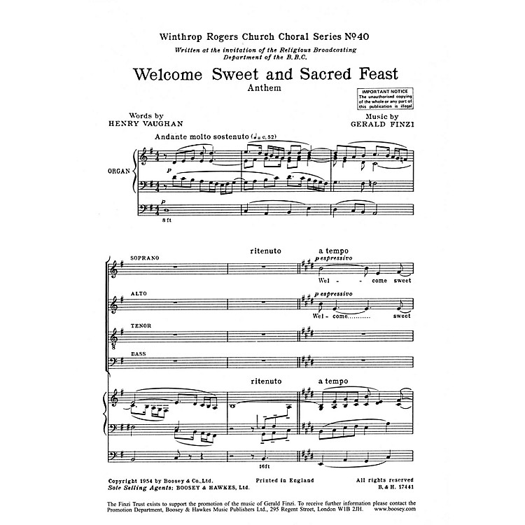 Boosey and HawkesWelcome Sweet and Sacred Feast (SATB divisi with Organ) SATB Divisi composed by Gerald Finzi