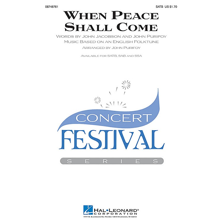 Hal Leonard When Peace Shall Come SSA Arranged by John Purifoy