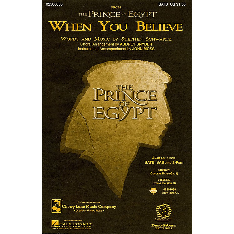 Cherry LaneWhen You Believe (from The Prince of Egypt) SATB arranged by Audrey Snyder