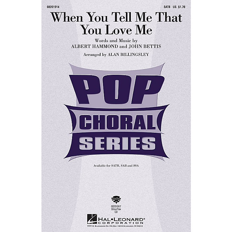 Hal LeonardWhen You Tell Me that You Love Me ShowTrax CD Arranged by Alan Billingsley