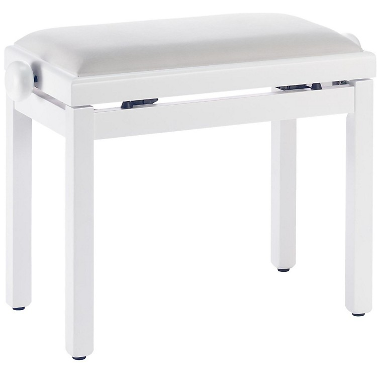 StaggWhite Piano Bench With A White Velvet Top