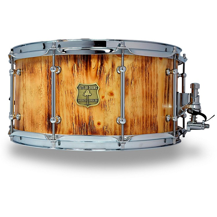 OUTLAW DRUMS White Pine Stave Snare Drum with Chrome Hardware 14 x 7 in. Forest Fire