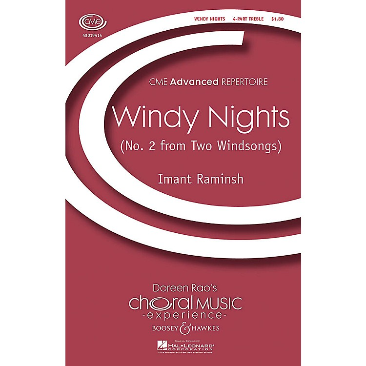 Boosey and HawkesWindy Nights (No. 2 from Two Windsongs) CME Advanced 4 Part Treble composed by Imant Raminsh