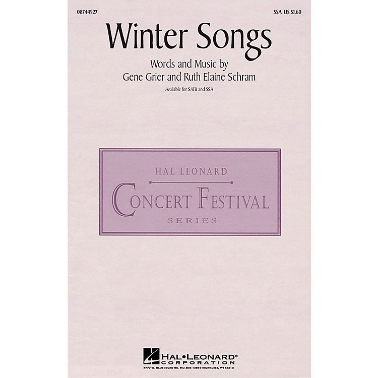 Hal Leonard Winter Songs SSA composed by Ruth Elaine Schram