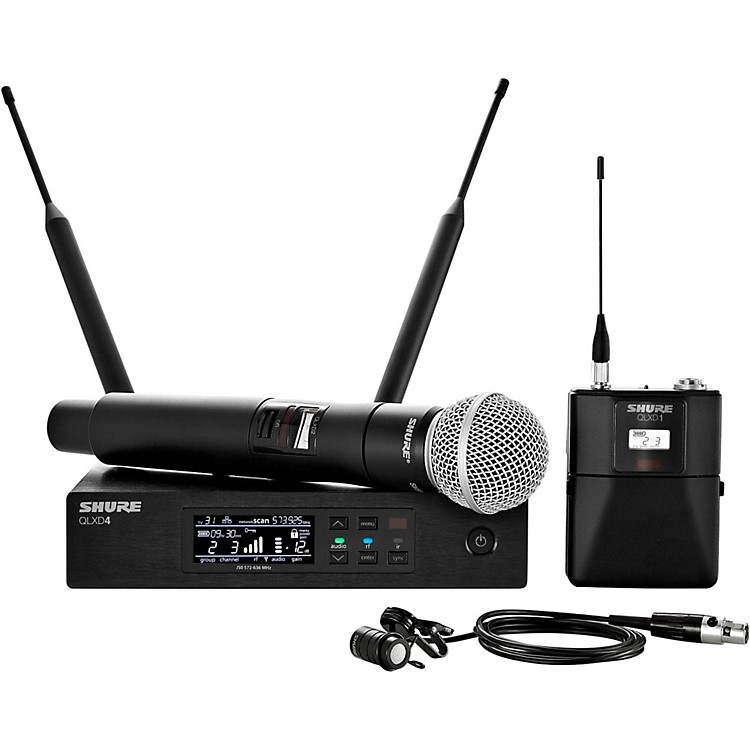 ShureWireless Bodypack and Vocal Combo System with WL185 and SM58Band J50