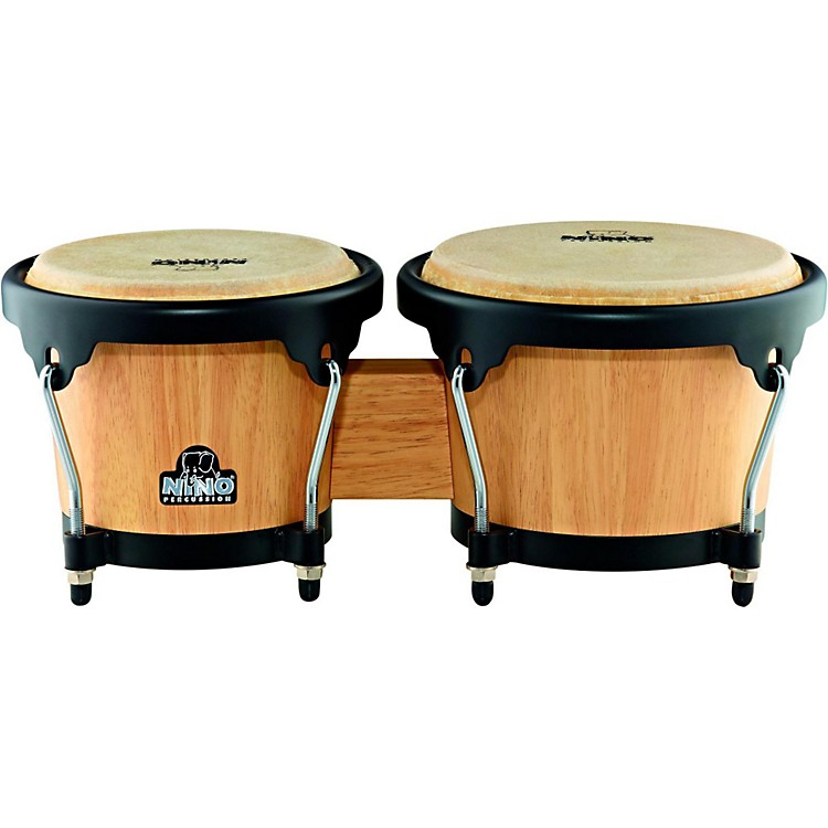 Nino Wood Bongos Natural with Black Hardware