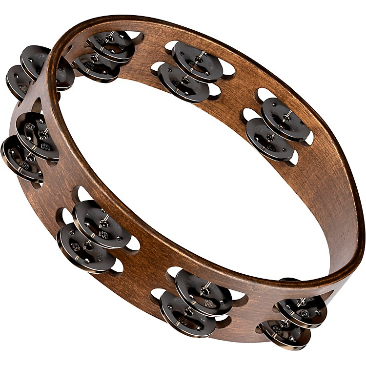 MeinlWood Tambourine with Double Row Stainless Steel Jingles10 in.Walnut Brown