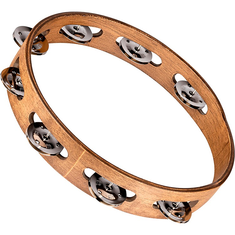 Meinl Wood Tambourine with Single Row Stainless Steel Jingles 10 in. Walnut Brown