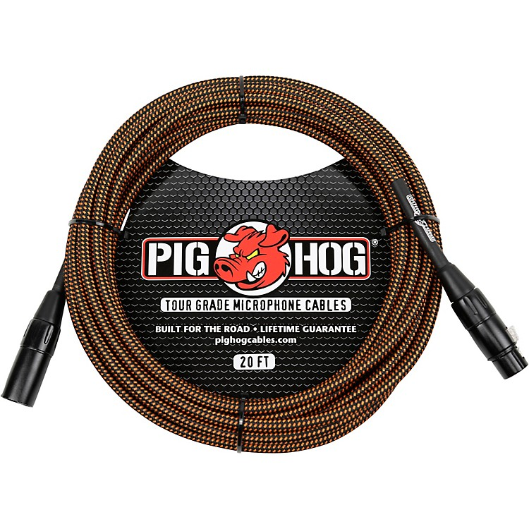 Pig Hog Woven XLR Mic Cable 20 ft. Black & White