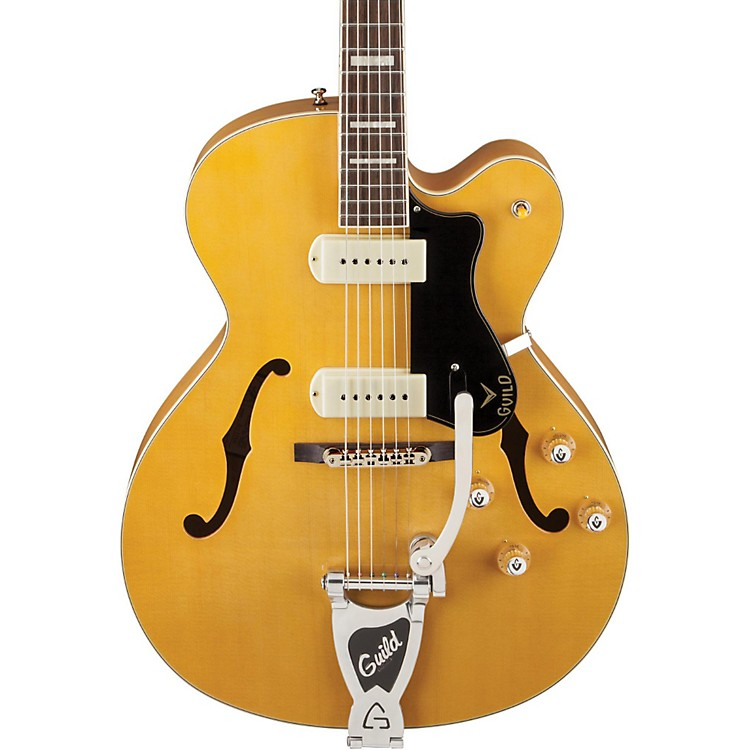 GuildX-175B Manhattan Hollowbody Archtop Electric Guitar with Guild Vibrato TailpieceBlonde