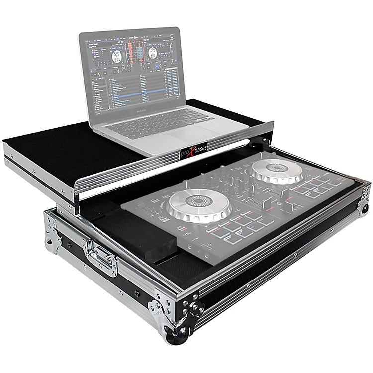 ProX X-MXTSBLT ATA Style Flight Road Case with Sliding Laptop Shelf for Pioneer DDJ-SBII, DDJ-RB  and Numark Mixtrack Pro II DJ Controllers Black/Chrome