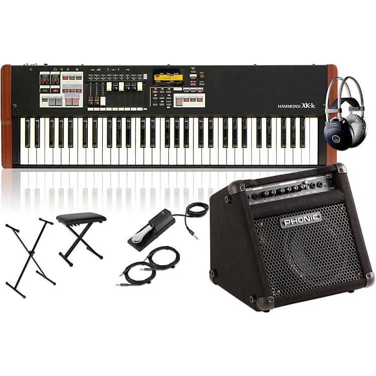HammondXK-1c Portable Organ with Keyboard Amplifier, Stand, Headphones, Bench and Sustain Pedal
