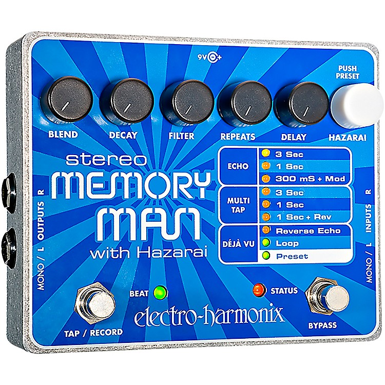 Electro-HarmonixXO Stereo Memory Man with Hazarai Delay Guitar Effects Pedal