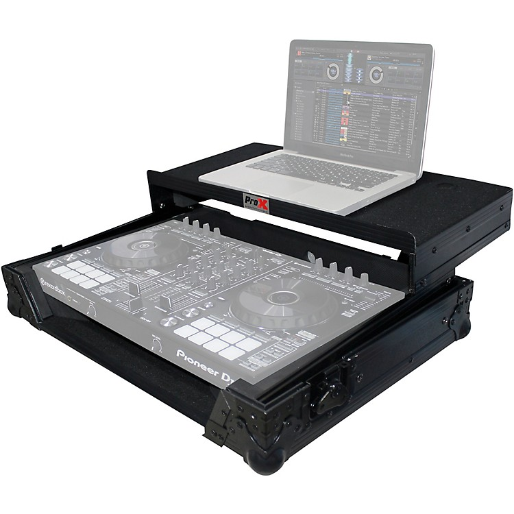 ProXXS-DDJSRLTBL Black ATA Style Flight Road Case with Glide Laptop Shelf for DDJ-SR and DDJ-RR ControllerBlack