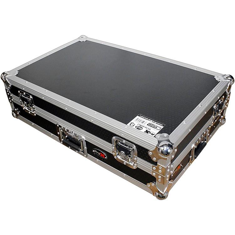 ProXXS-DJRXWLT ATA Style Flight Road Case with Sliding Laptop Shelf and Wheels for XDJ-RX DJ ControllerBlack/Chrome
