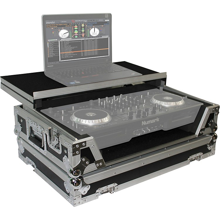 ProX XS-MIXDECKWLT ATA Style Flight Road Case with Sliding Laptop Shelf and Wheels for Numark MixDeck Quad DJ Controller Black/Chrome