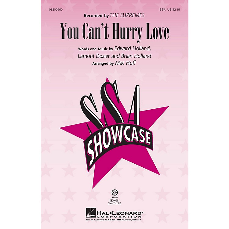 Hal LeonardYou Can't Hurry Love SSA by The Supremes arranged by Mac Huff