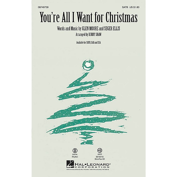 Hal Leonard You're All I Want for Christmas ShowTrax CD Arranged by Kirby Shaw