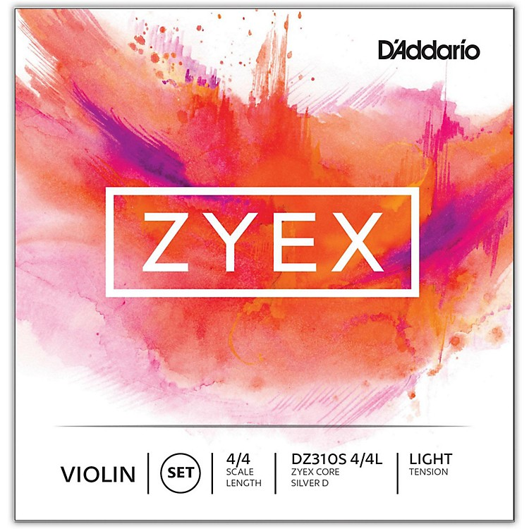 D'Addario Zyex Series Violin String Set 4/4 Size Medium, Silver D