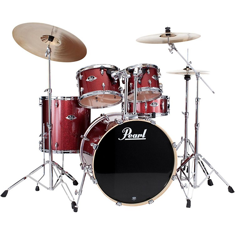 PearlePRO Powered by Export Acoustic Electric New Fusion DrumsetBlack Cherry Glitter